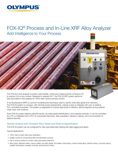 FOX-IQ Process and In-Line XRF Alloy Analyzer