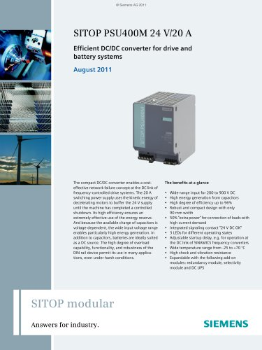 SITOP Modular: SITOP PSU400M 24 V/20 A - Efficient DC/DC converter for drive and battery systems