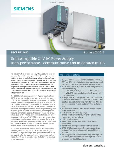 SITOP UPS1600: Uninterruptible 24V DC Power Supply -  High-performance, communicative and integrated in TIA