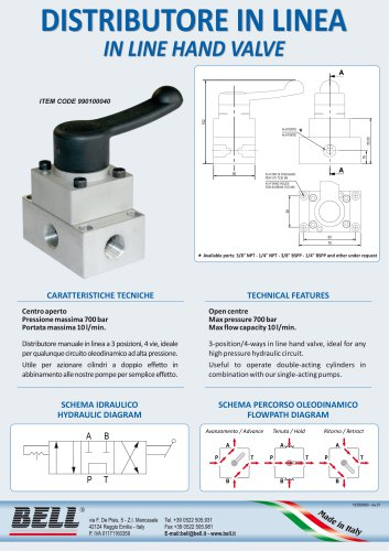 High pressure hand valve with in-line driving block