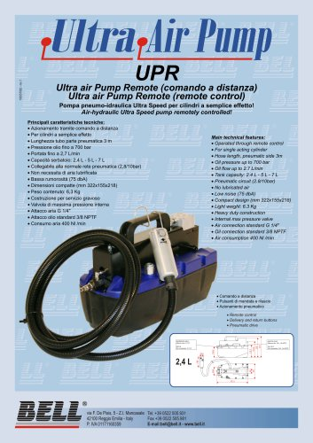 UP SERIES - Air-Hydraulic pump with remote pendant