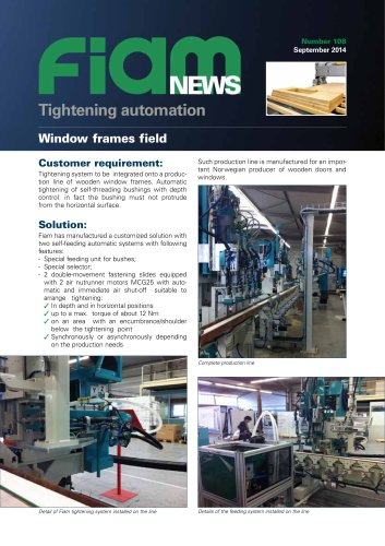 Automatic tightening of self-threading bushings on window frames