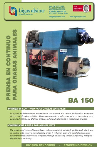 Continuous Press for Animal fats