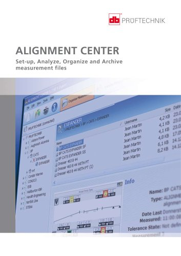 ALIGNMENT CENTER - Set-up, Analyze, Organize and Archive measurement files