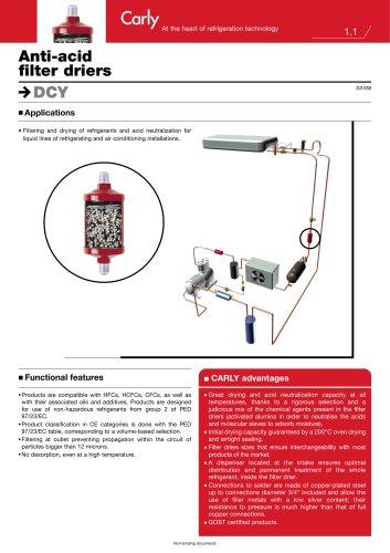 Anti-acid filter driers