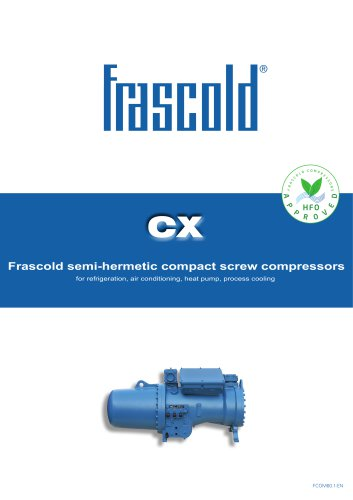 CX - Frascold semi-hermetic compact screw compressors HFO approved