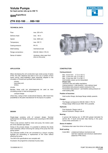 Catalogue - Series SIHISuperNova ZTK, 200 m³/h, 60 m, 350 °C