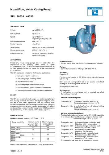 Catalogue - Series SPL, 3,500 m³/h, 33 m, 110 °C