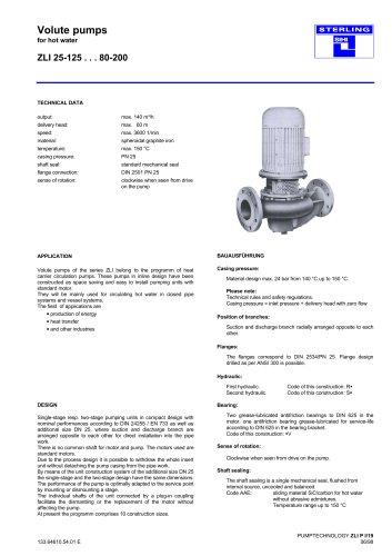 Catalogue - Series ZLI, 140 m³/h, 60 m, 150 °C
