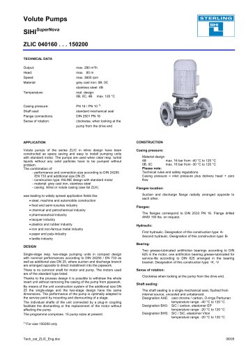Catalogue - Series ZLI, 280 m³/h, 60 m, 120 °C