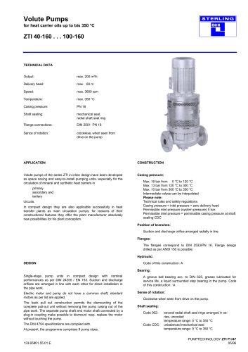 Catalogue - Series ZTI, 200 m³/h, 60 m, 350 °C