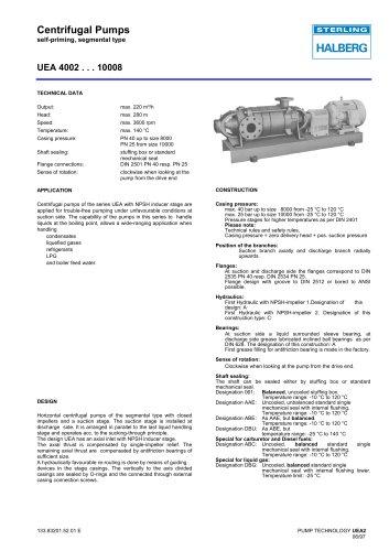 Centrifugal Pumps self-priming, segmental type UEA 4002 . . . 10008