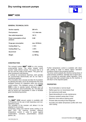 Dry running vacuum pumps SIHIdry H250