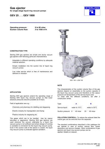 Gas ejector for single-stage liquid ring vacuum pumps GEV 25 . . . GEV 1800