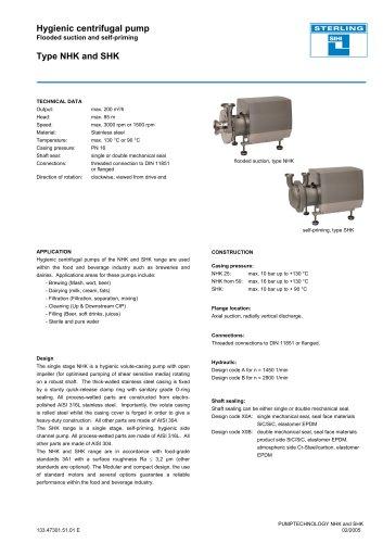 High Pressure Pumps Series NHK/SHK, 200 m³/h, 85 m, 130 °C