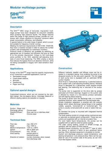 High Pressure Pumps Series SIHImulti MSC, 250 m³/h, 1000 m, 180 °C