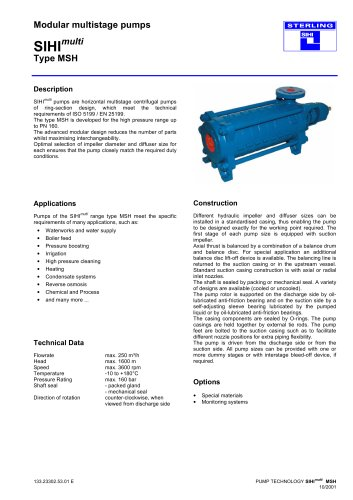 High Pressure Pumps Series SIHImulti MSH, 250 m³/h, 1600 m, 180 °C