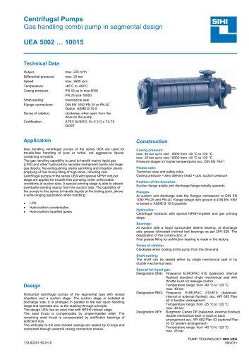 High Pressure Pumps Series UEA, 220 m³/h, 20 bar, 140 °C