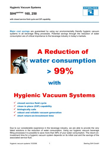 Hygienic Vacuum Systems SIHIsanivac 160, 250 with closed service fluid cycle and CIP capability