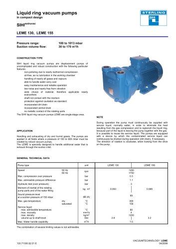 Liquid ring vacuum pumps in compact design LEM 26, LEM 51