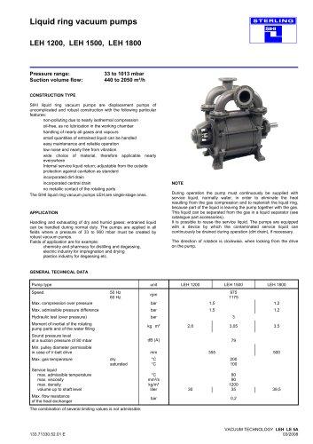 Liquid ring vacuum pumps LEH 1200, LEH 1500, LEH 1800