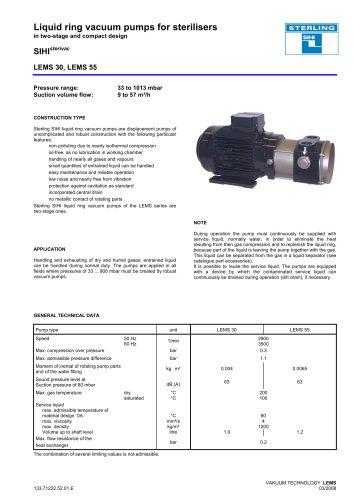 Liquid ring vacuum pumps sterilisers SIHI extruvac LEMS 30, LEMS 55