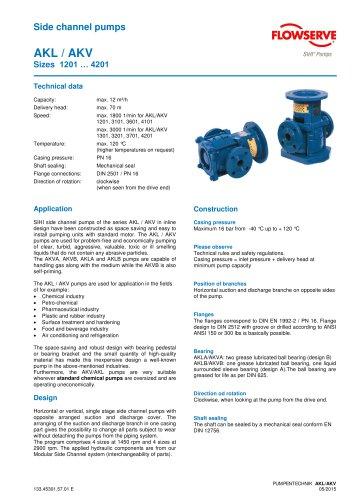 Series AKL/AKV, 12 m³/h, 70 m, 120 °C