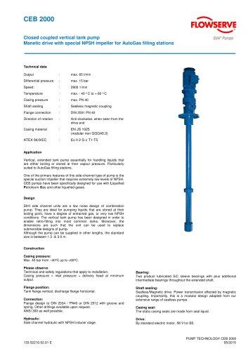 Series CEB, 65 ltr/min, 15 bar, 60 °C