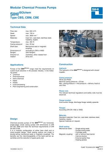 Series SIHIISOchem CBS/CBM/CBE, 650 m³/h, 150 m, 350 °C