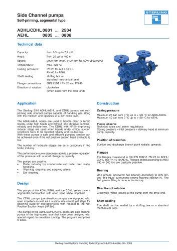 Side Channel pumps Self-priming, segmental type ADHL/CDHL 0801 ... 2504 AEHL 0805 ... 0808