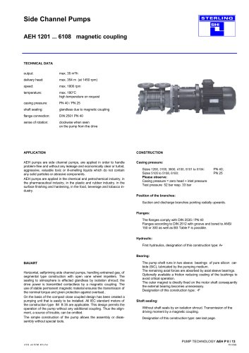 Side Channel Pumps Series AEH magnetic coupling, 35 m³/h, 354 m, 180 °C