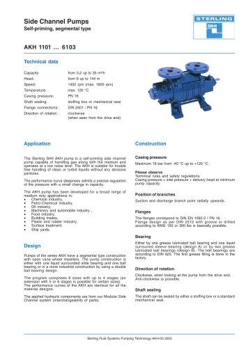 Side Channel Pumps Series AKH, 35 m³/h, 144 m, 120 °C