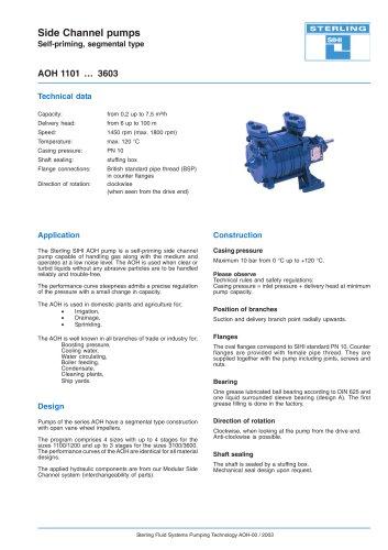 Side Channel Pumps Series AOH, 12 m³/h, 98 m, 120 °C