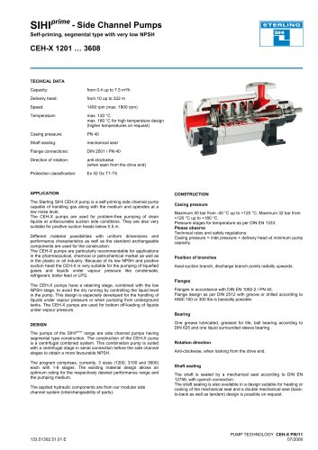SIHIprime - Side Channel Pumps Self-priming, segmental type with very low NPSH CEH-X 1201 … 3608