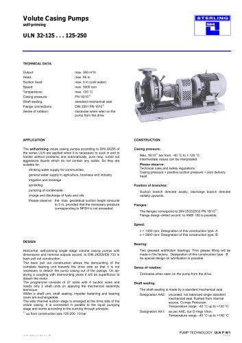 Volute Casing Pumps Self priming ULN 32-125... 125-250