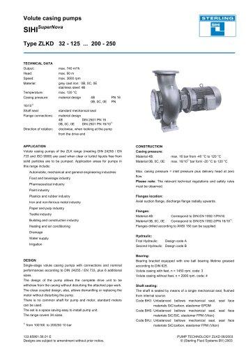 Volute casing pumps SIHI SuperNova Type ZLKD 32 - 125 ... 200 - 250