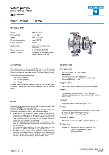 Volute pumps for hot water up to 180°C SIHISuperNova ZHND 032160 ... 150250