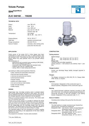 Volute Pumps SIHISuperNova ZLIC 040160 . . . 150200
