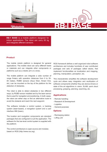 Mobile Robot RB-1 BASE - Robotnik - PDF Catalogs | Technical
