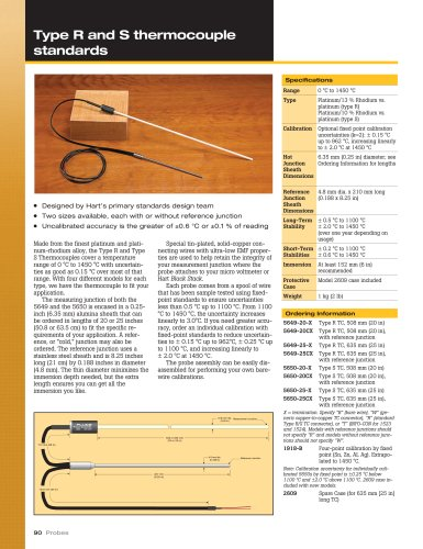 Type R and Type S Thermocouple Standards - Models 5649 and 5650
