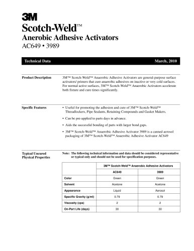 Anerobic Adhesive Activators AC649 and 3989
