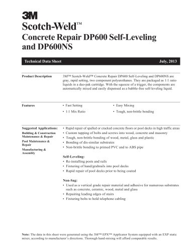 Concrete Repair DP600 Self-Leveling and DP600NS Technical Data Sheet