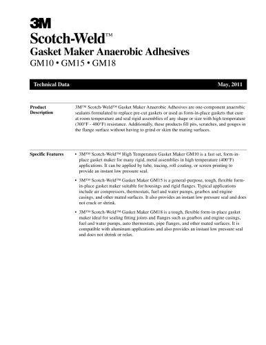 Gasket Maker Anaerobic Adhesives GM10 ? GM15 ? GM18