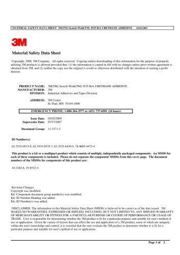 MATERIAL SAFETY DATA SHEET 3M(TM) Scotch - Weld(TM) 3535 B/A URETHANE ADHESIVE