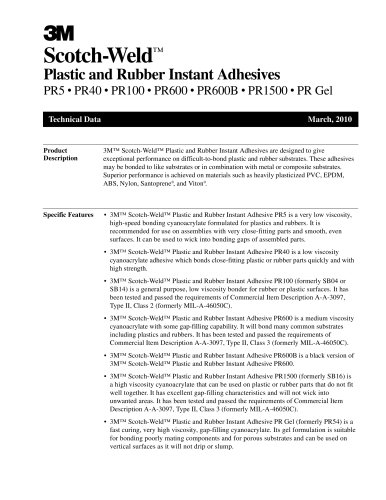 Plastic and Rubber Instant Adhesives PR5 ? PR40 ? PR100 ? PR600 ? PR600B ? PR1500 ? PR Gel