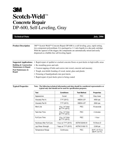 Scotch-Weld ? Concrete Repair DP-600, Self-Leveling, Gray