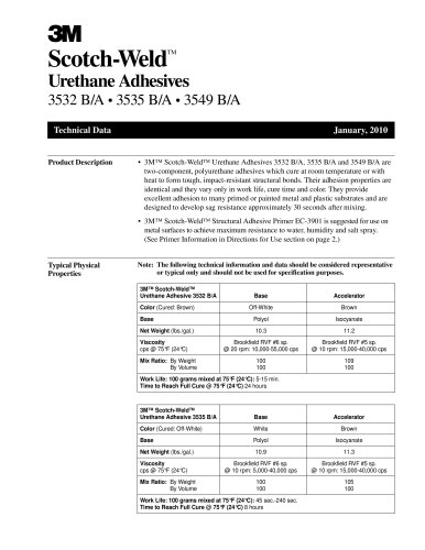 Scotch-Weld TM Urethane Adhesives 3532 B/A ? 3535 B/A ? 3549 B/A