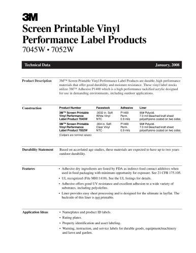 Screen Printable Vinyl Performance Label Product 7045W_7052W
