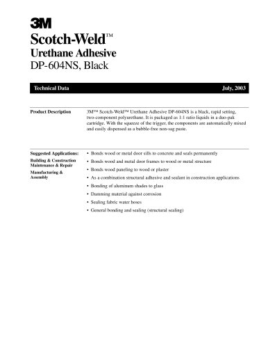 Urethane Adhesive DP-604NS, Black
