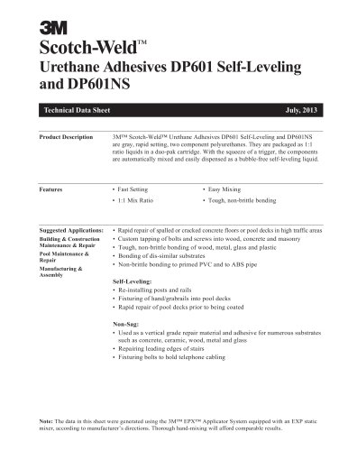 Urethane Adhesives DP601 Self-Leveling and DP601NS